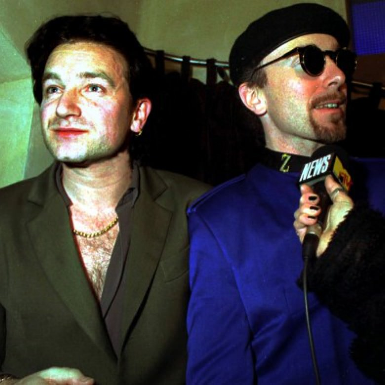 bono and the edge at the opening of the kitchen nightclub in dublin